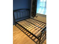 Chrome metal double bed frame