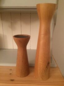 Set of 2 x Marks and Spencer Solid Wood Candle Holders Living Room Dining Room Kitchen VGC