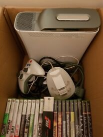 Xbox 360 console with games and accessories
