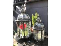 2x large lantern candle holders