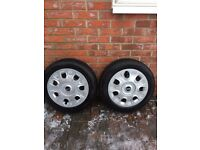 x2 SNOW TYRES on STEEL RIMS + MINI WHEEL TRIMS x3 175/65/15