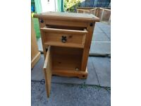 2 solid corona pine bedside tables