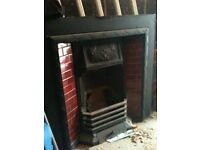 tiled fireplace inserts one green and one cherry red. Including fire back and basket