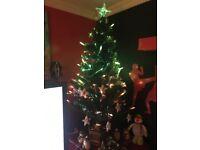 Vintage fibre optic musical candle lit Xmas tree
