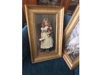 Set of 2 framed pictures of victorian girls holding flowers