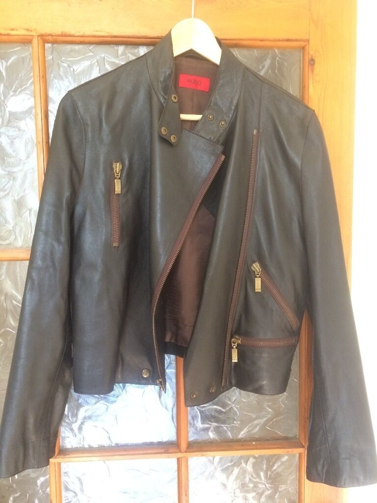 LADIES/WOMENS AMAZING BROWN LEATHER JACKET GENUINE HUGO BOSS SIZE MEDIUMin New Town, EdinburghGumtree - Very stylish genuine Hugo Boss ladies lambs leather biker jacket in excellent condition. You are welcome to come round and try it on. I am based in Canonmills, Edinburgh just drop me a message. Size Ladies Medium may also fit Small