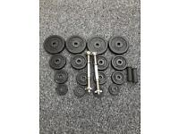 40KG METAL DUMBBELL SET WITH A PAIR OF FAT GRIPS