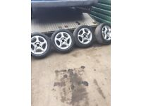 Genuine Hyundai Coupe SE Set of 4 Alloy wheels with 4 good tyres