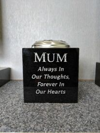 Granite Memorial Vase/Grave Memorial 6x6x6 With Own Inscription & Flower Container