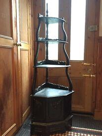 £60 Antique black vintage corner shelving unit and cupboard