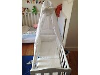 John Lewis Glider crib - white incl mattress, bumpers and 7 sheets