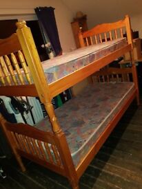 Solid Pine Bunk Beds or can be detached to set up as 2 Single beds