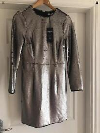 Marks & Spencer full sequinned silver dress NEW size 8... Christmas party 🎉