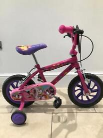 Girl Disney bicycle 2 to 4 yrs, 12 inch wheels