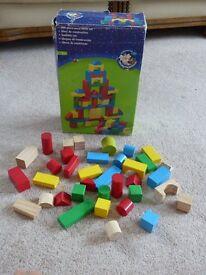 Wooden playing blocks