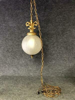 Vintage White Frosted Crackle Glass Swag Hanging Lamp Ceiling Light