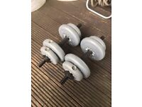 30kg Free Weights with 1 long training bar and 2 dumbell bars
