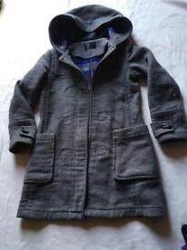 Ladies wool coat hoodies zipper grey size 8 used ex condition £7