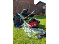 Maxi Cosy pram, stroller and car seat with rain covers.