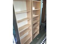 2 x pine effect bookcases