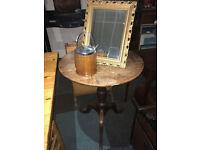 Appealing Antique Georgian Solid Oak Rustic Tripod Side/Lamp Table
