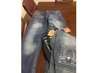 Men's jeans 12 pairs 36 waist 32 & 34 leg, various colours