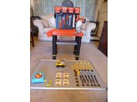 Childrens Play Workbench.Black & decker.Incl Accessories, Construction lorry and ELC tape measure.