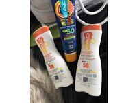 Different factor sun tan creams