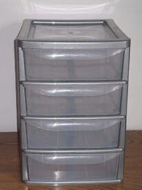 4 Drawer Plastic Storage Drawers little used ideal for home, garage, office etc.