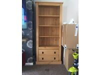 Solid pine book case with 2 drawers. Perfect condition, no marks.