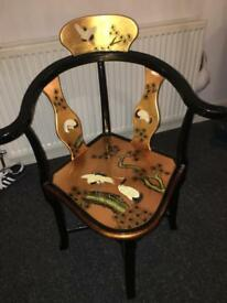 ORIENTAL FURNITURE BUNDLE - GOLD AND BLACK LACQUERED FURNITURE WITH CRANE AND BLOSSOM DESIGN
