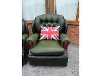Beautiful Vintage Chesterfield Chair In Antique Green Leather - UK Delivery