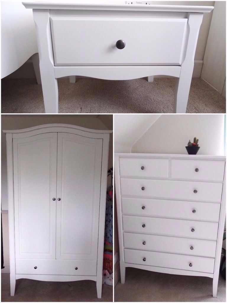 Schreiber Fitted Bedroom Furniture Schreiber White Wooden Double Wardrobe Chest Of Drawers