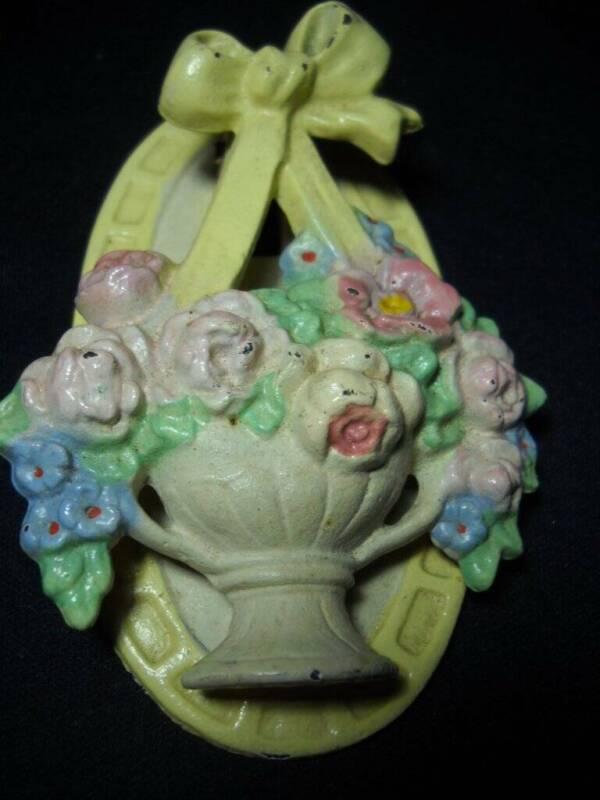 Antique Hubley Cast Iron Flower Basket Door Knocker #124  Super Nice