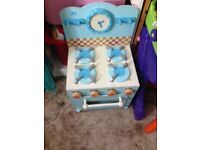 Free blue wooden toy oven