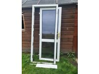 Two white upvc doors and frames for sale