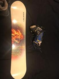 Kids snowboard boots and bindings set