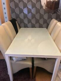 Dining Table for Sale Gloss white legs with glass top