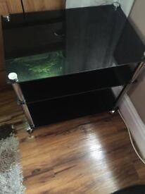 Black glass side stand/ tv