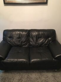 Black leather two seat couch excellent condition collect South Woodham Ferrers