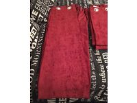 Dunelm Mill Red Velvet Curtains