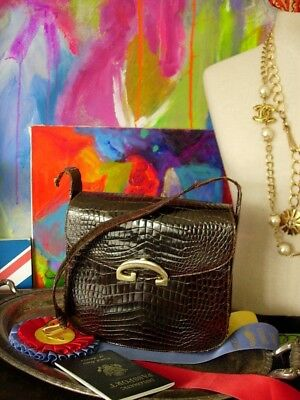 Vintage GUCCI Alligator Crocodile Exotic Skin Handbag Purse Kelly Bag RARE GG