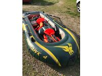 Intex Seahawk 4 Boat Set - four man inflatable dinghy with oars, pump and life jackets