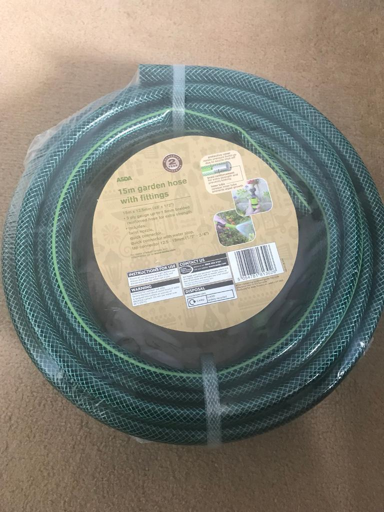 15m garden hose and fittings (new) | in