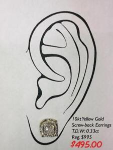 10kt Yellow Gold Diamond Mens Screw-back Earrings 0.33ct