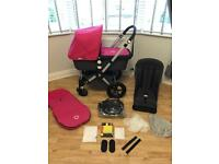 Bugaboo Cameleon 2nd generation pram grey and pink with footmuff and raincover