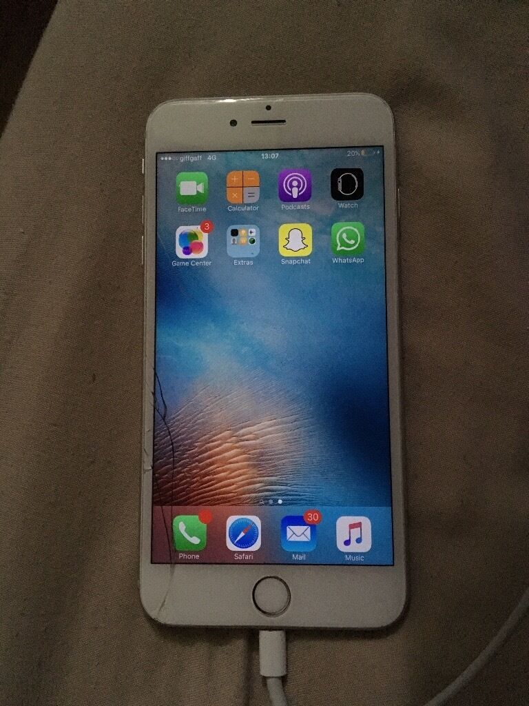 iphone 6s plus 64gb unlocked cracked screen silver perfectly working can collect from chigwel. Black Bedroom Furniture Sets. Home Design Ideas