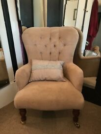 Camel/beige suede armchair with quilted detailing
