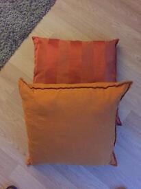 2 x large Orange cushions