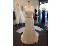 Chiffon Wedding Dress with Grecian style back in Ivory size 14